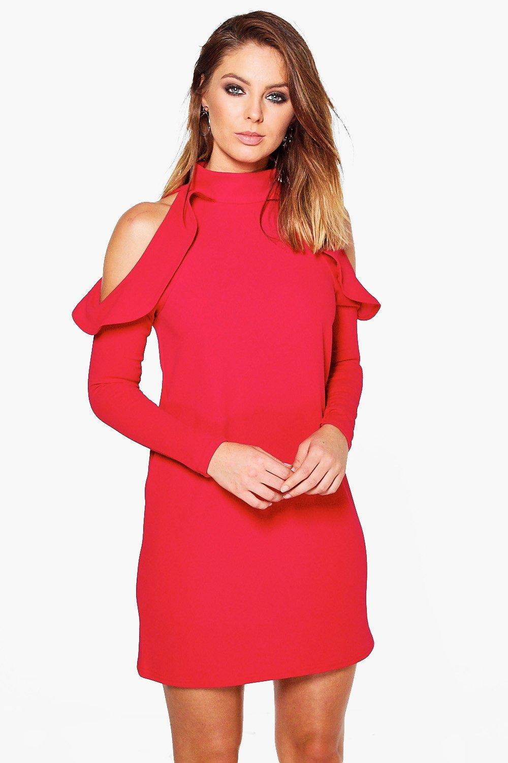 Lo High Neck Frill Detail Open Shoulder Shift Dress