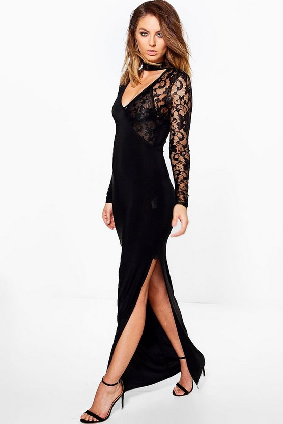 Anouk Lace Insert Choker Slinky Maxi Dress