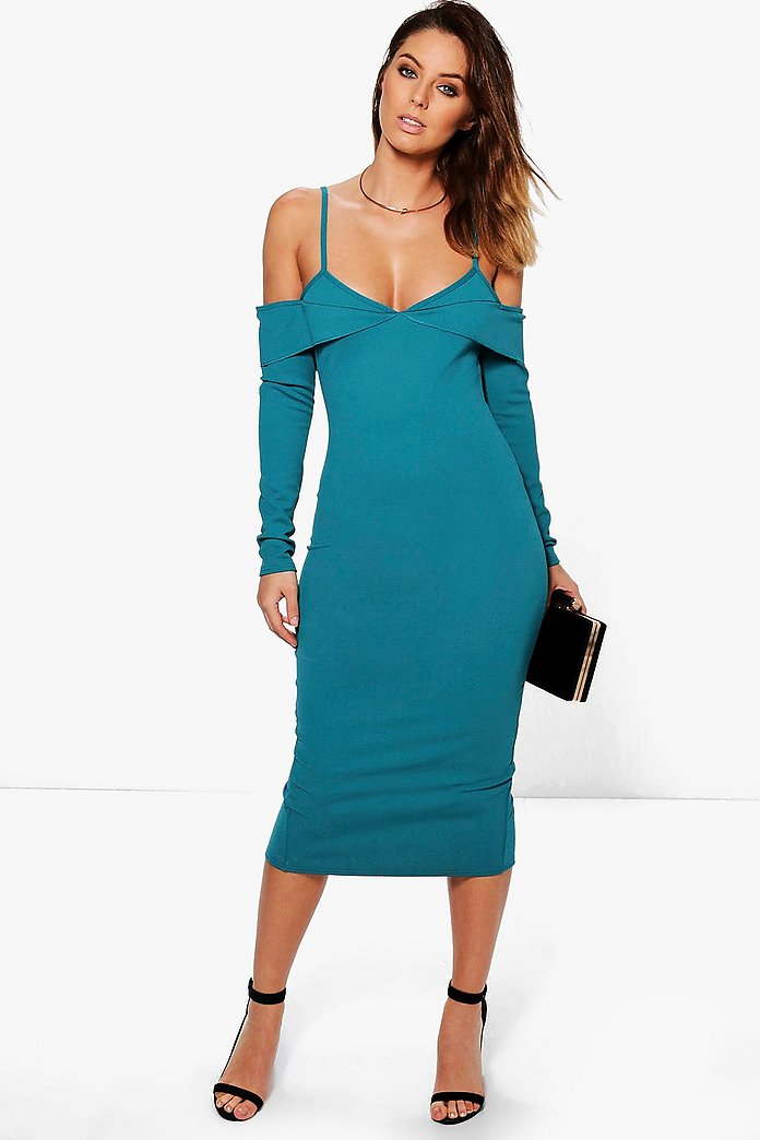 Bekki Cold Shoulder Fold Detail Midi Dress