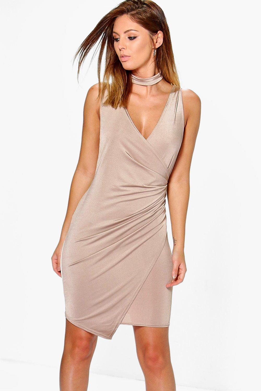 Adria Drape Slinky Tie Neck Detail Bodycon Dress