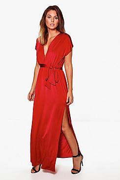 Flossie Deep Plunge Tie Waist Maxi Dress