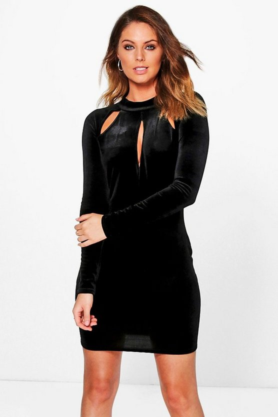 Velvet Keyhole Slit Detail Bodycon Dress