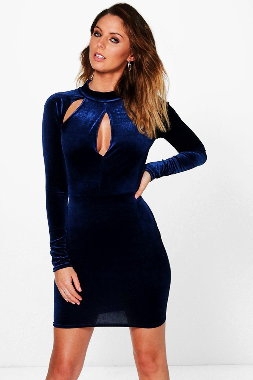 Polly Velvet Keyhole Slit Detail Bodycon Dress