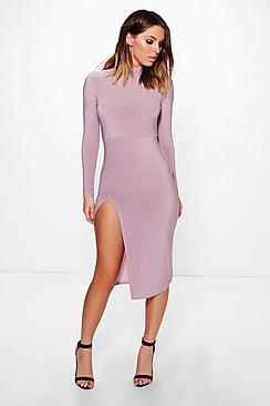 Eldora Slinky Roll Neck Split Midi Dress