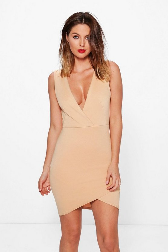 Carmen Wrap Over Detail Bodycon Dress