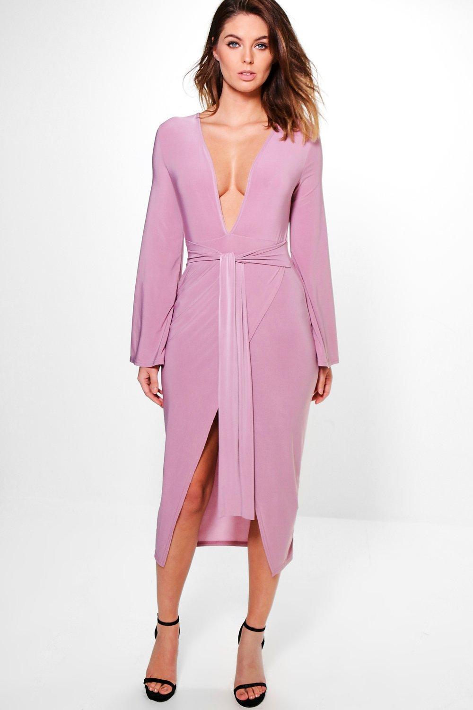 vestido elegante por debajo de la rodilla con nudo y manga de kimono ...