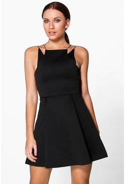 Pearl Scuba Double Strap Skater Dress