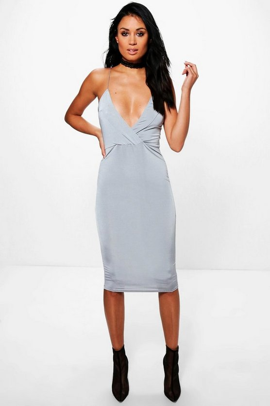 Misse Strappy Plunge Slinky Midi Dress