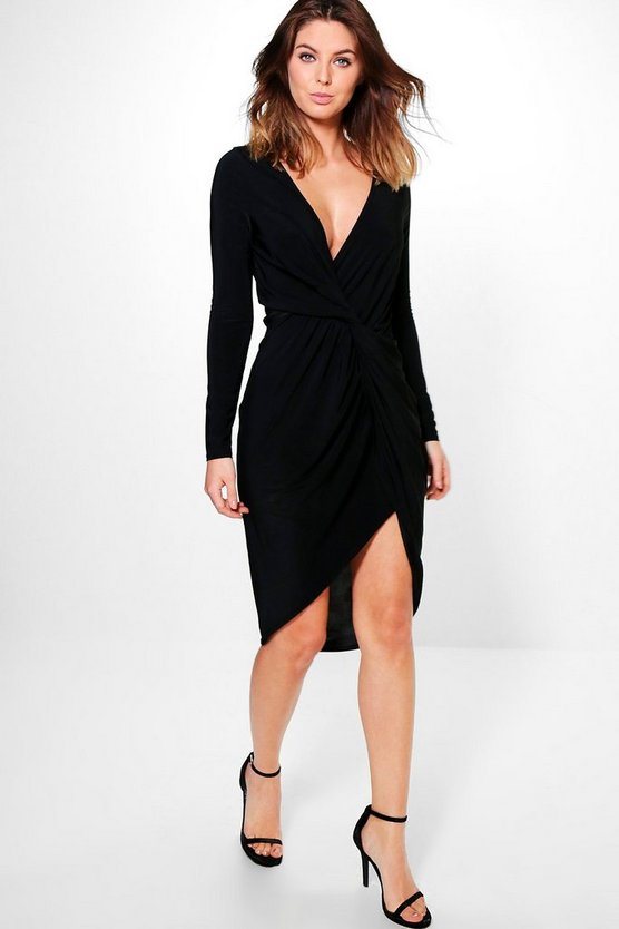 Fran Slinky Long Sleeved Twist Detail Midi Dress