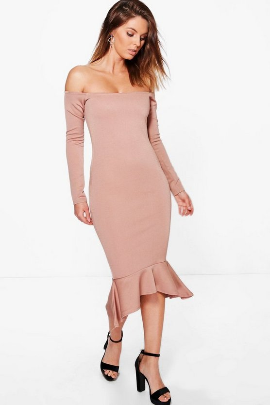Sakura Off Shoulder Peplum Hem Midi Dress