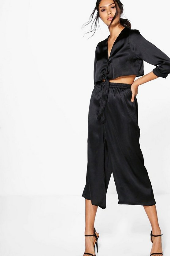 Rose Satin Tie Shirt & Culotte Co-Ord