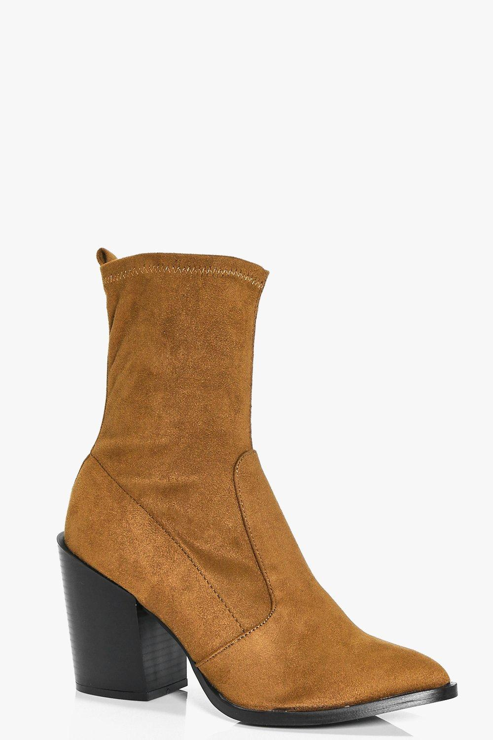 Leila Block Heel Pointed Sock Boot