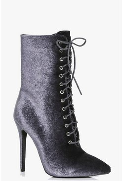 Felicity Velvet Lace Up Shoe Boot