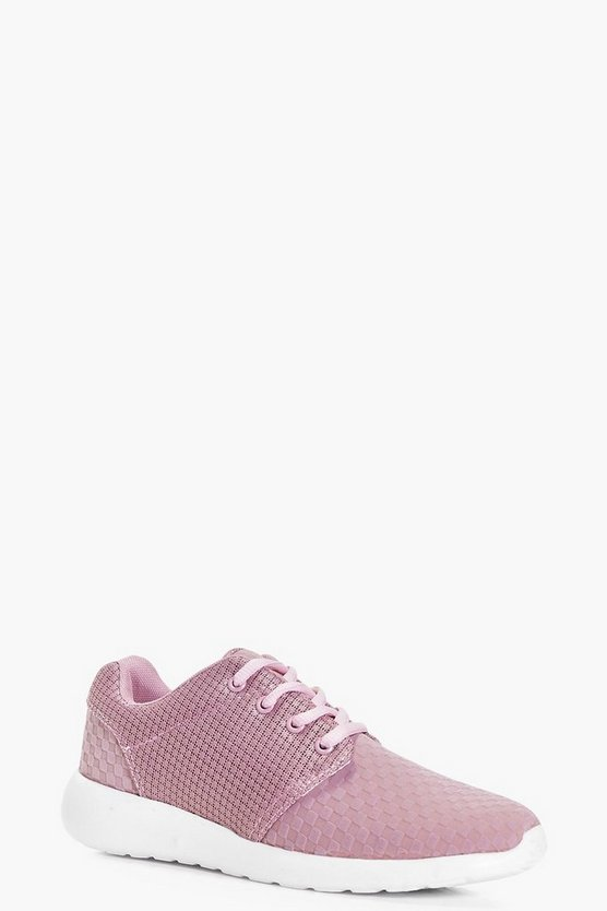 Kara Textured Lace Up Trainers