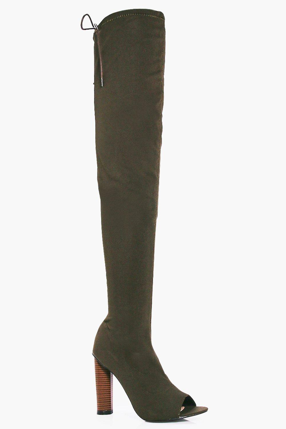 Violet Stretch Peeptoe Thigh High Boot