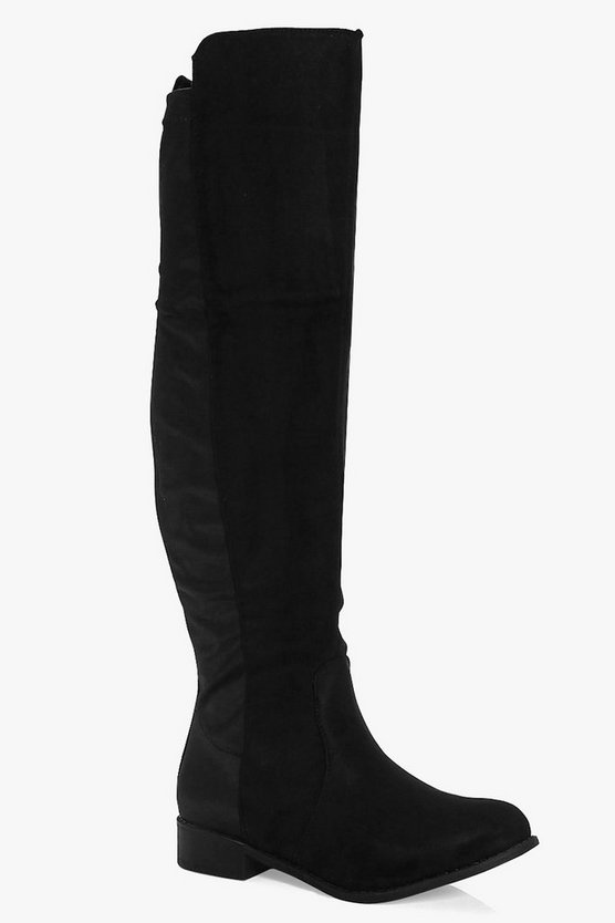 Tegan Flat Elastic Back Over The Knee Boot