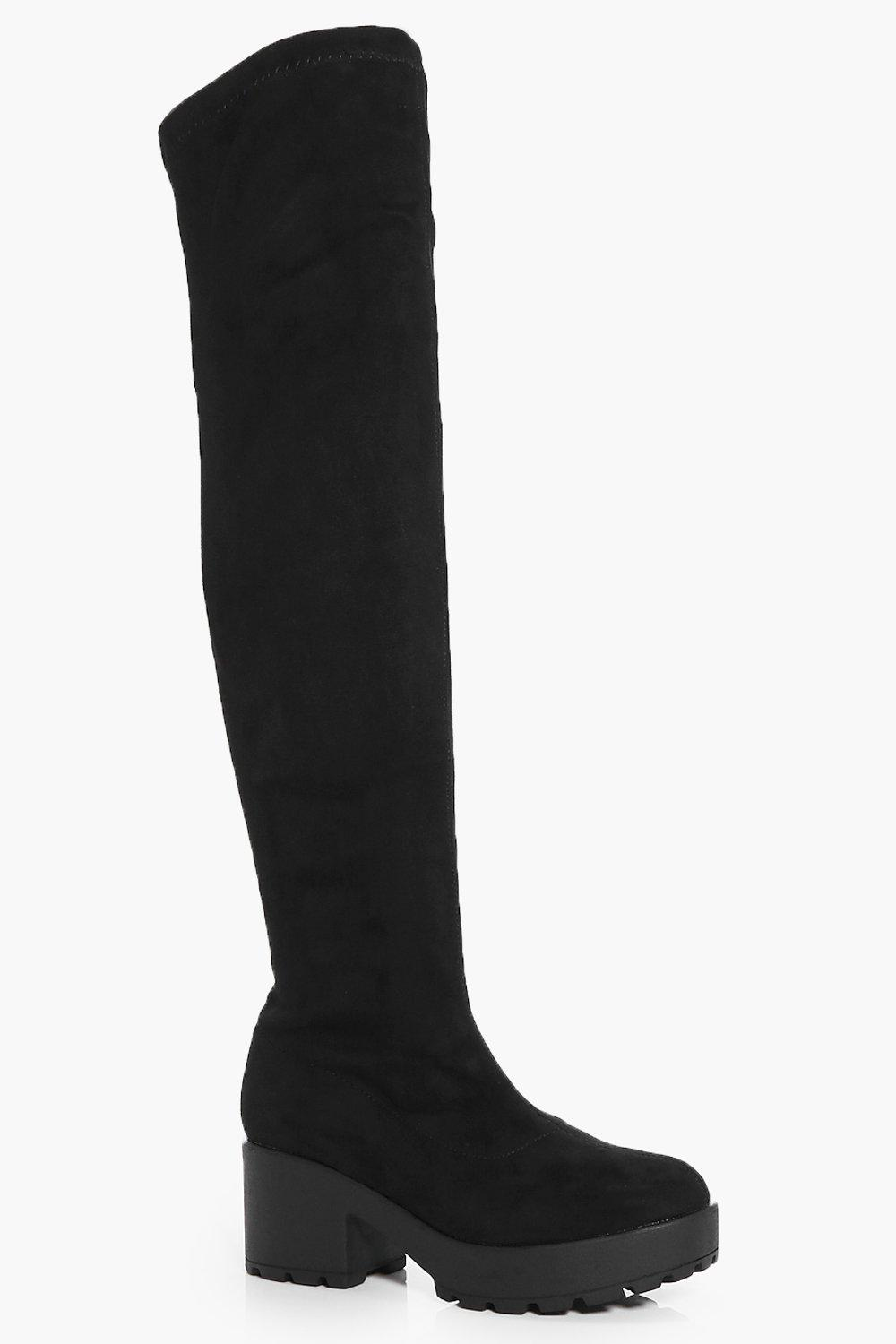 Tia Cleated Chunky Sole Over The Knee Boot