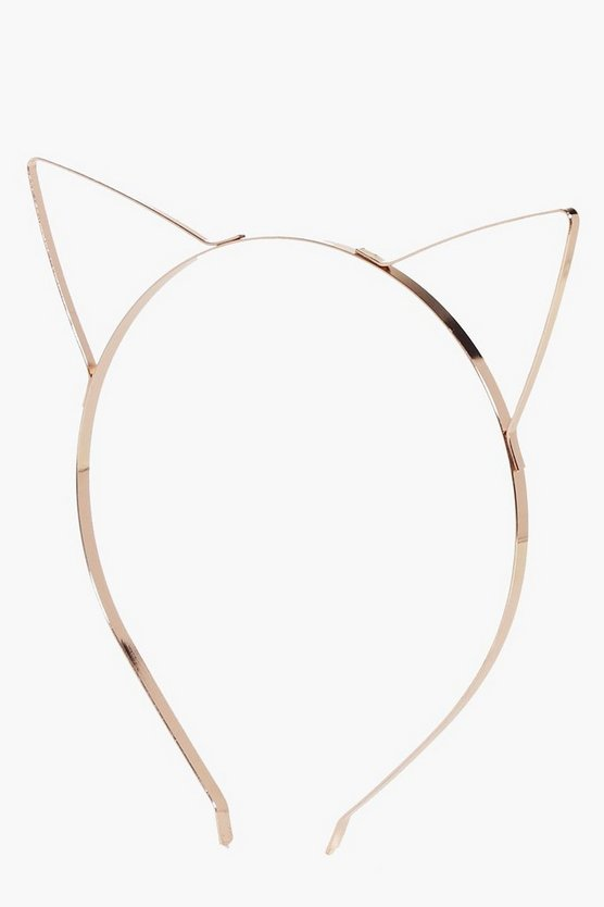 Ebony Rose Gold Metal Cat Headband