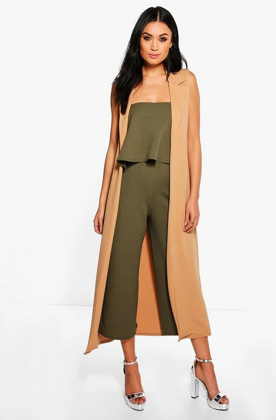 Cari 3 Piece crop culotte & duster Co-ord Set