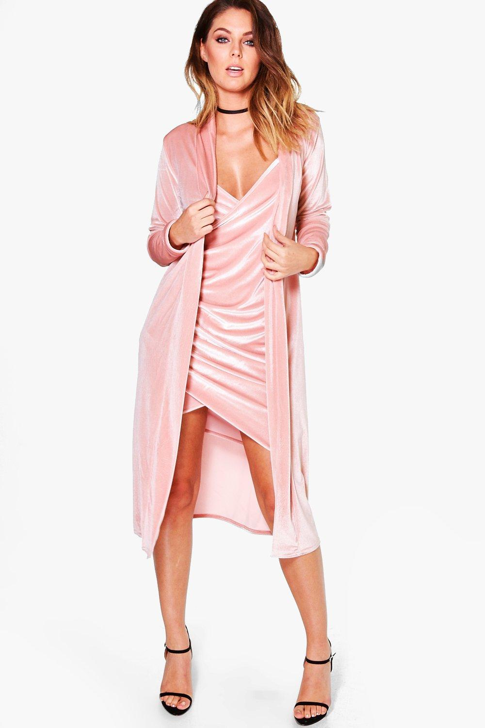 Isla Velvet Wrap Dress & Duster Co-Ord