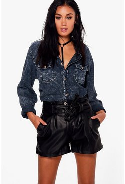 Jenny Belted Faux Leather Shorts