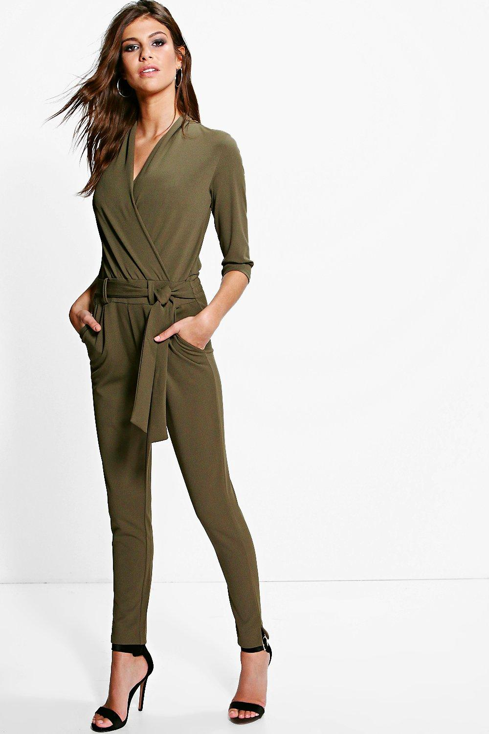 Faye Tailored Wrap Front Tie Belt Jumpsuit