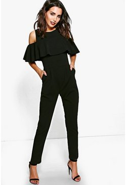 Viki Ruffle Cold Shoulder Skinny Leg Jumpsuit