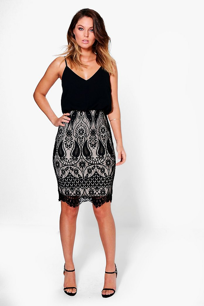 Boutique Eve Chiffon Top Lace Skirt 2 in 1 Dress