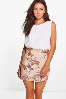 Boutique Brea Chiffon Top Sequin Skirt 2 in 1 Dress