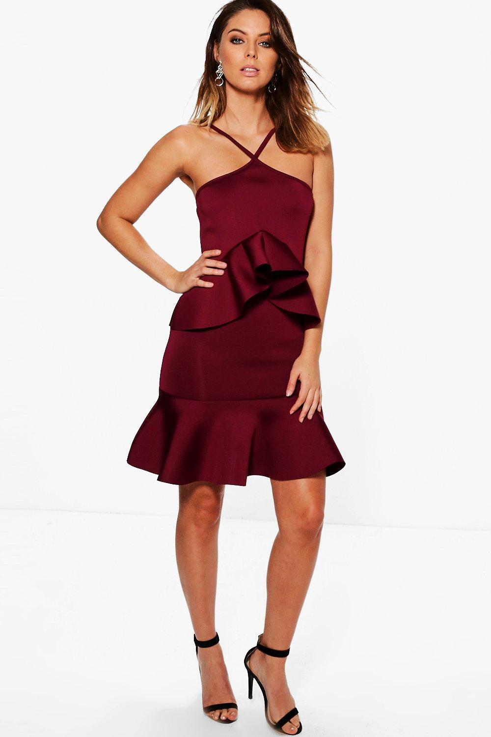 Cleo Scuba Peplum Frill Hem Bodycon Dress