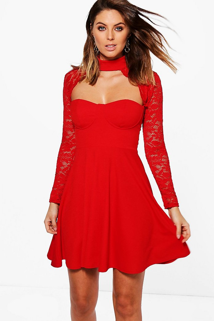 Afua Choker Lace Detail Skater Dress