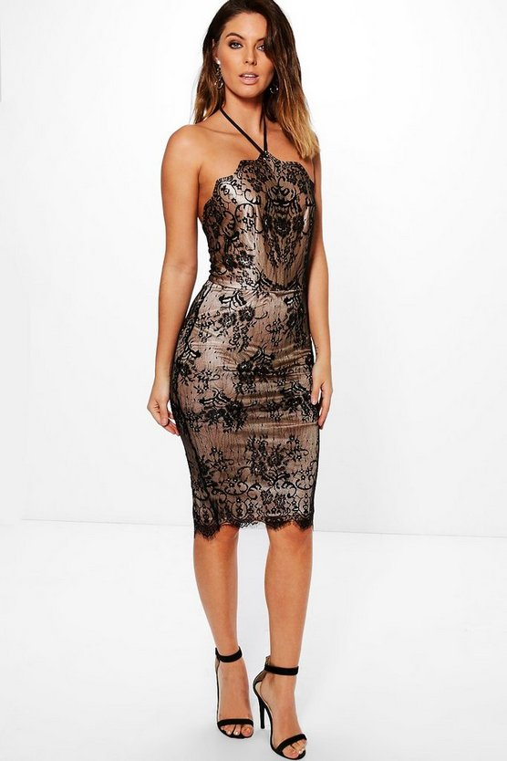 Abra Lace Scallop Neckline Midi Bodycon Dress