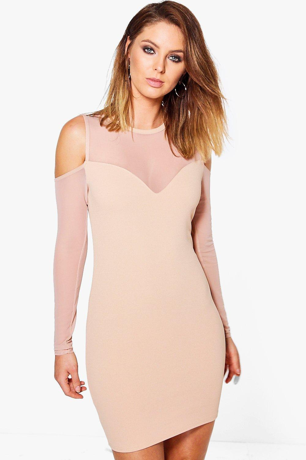 Shay Mesh Detail Cold Shoulder Bodycon Dress