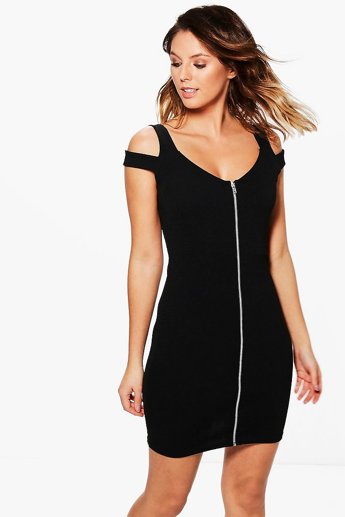 Vita Cold Shoulder Zip Through Bodycon Dress
