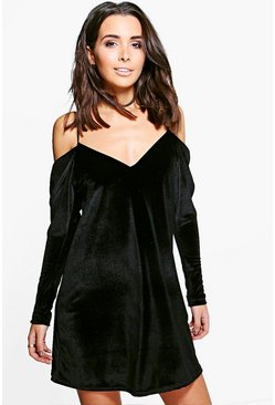Quinn Velvet Cold Shoulder Shift Dress