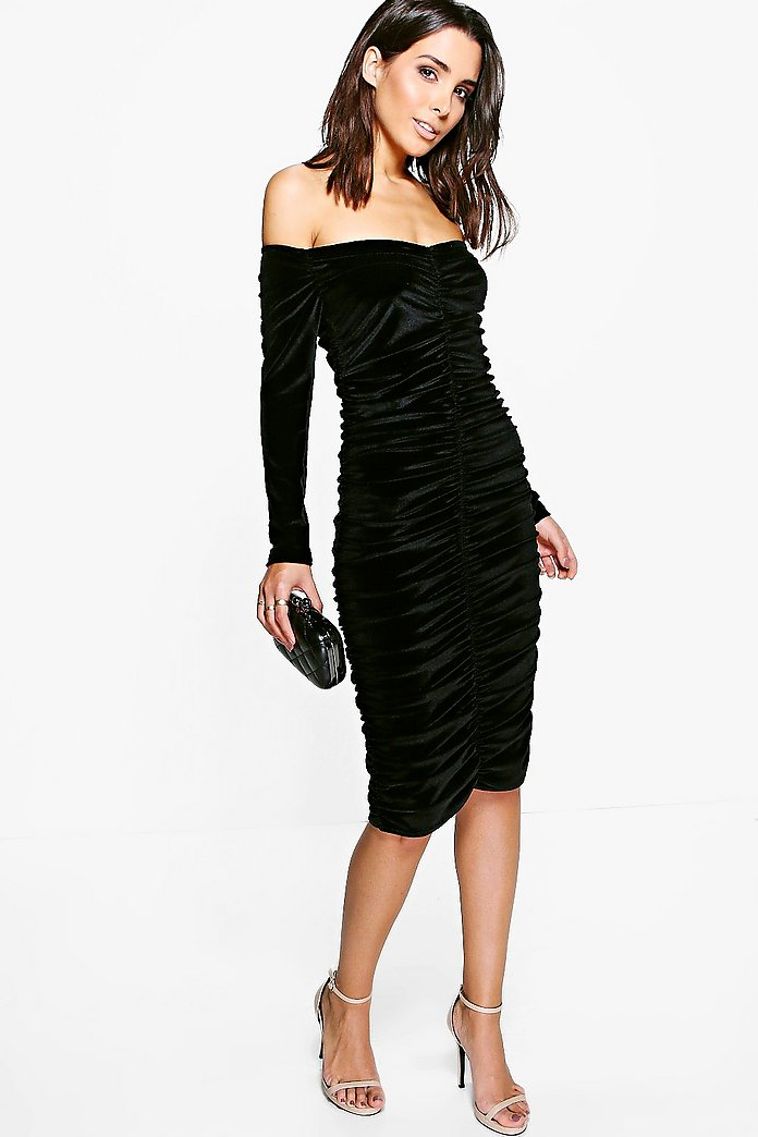 Azra Velvet Ruched Off Shoulder Bodycon Dress