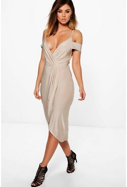 Sky Slinky Cold Shoulder Wrap Detail Midi Dress