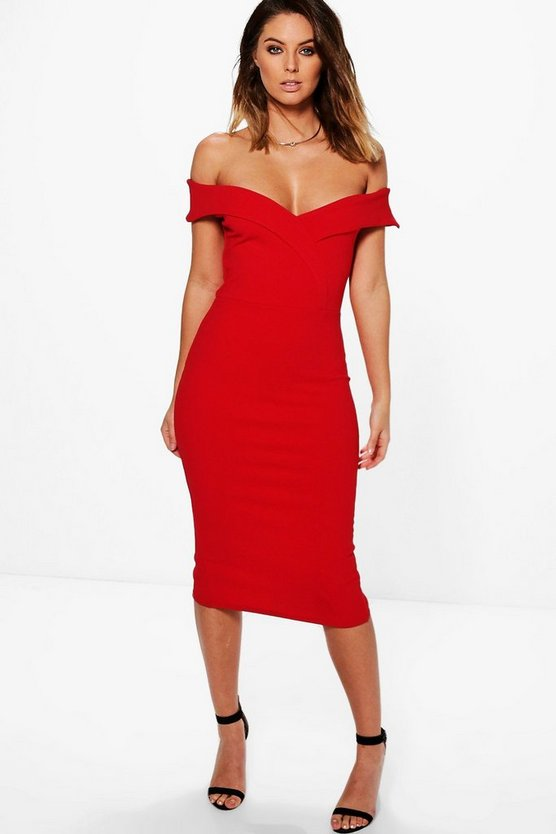 Lucie Sweetheart Off Shoulder Midi Dress