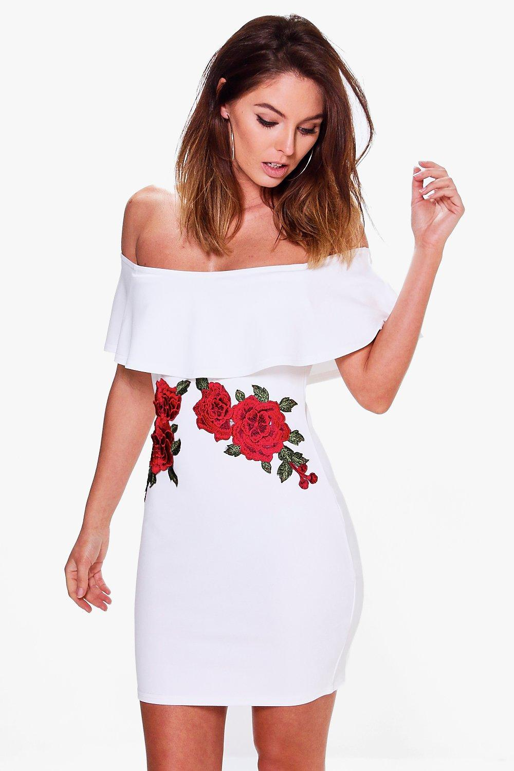 Kat Off Shoulder Applique Detail Bodycon Dress