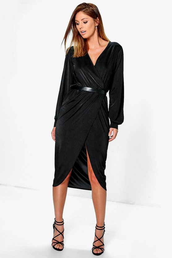 Ruby Slinky Split Sleeve Wrap Over Midi Dress