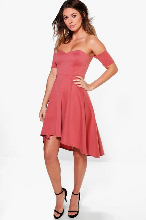 Melinda Dip Hem Skater Dress