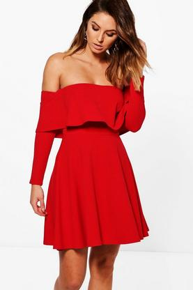 Marissa Off Shoulder Skater Dress