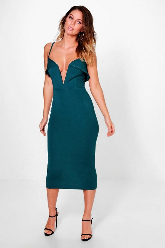 Adah Plunge Neck Detail Strappy Midi Dress