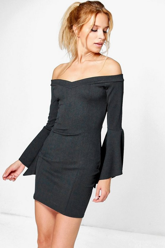 Ayra Off Shoulder Flared Sleeve Bodycon Dress