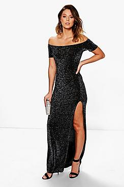 Lila Metallic Off Shoulder Split Maxi Dress