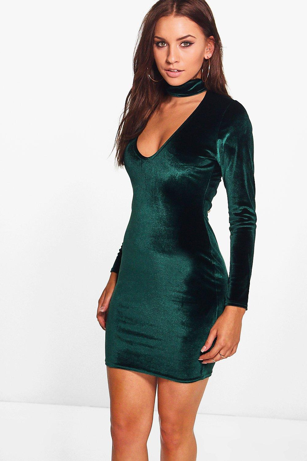 Leni Velvet Choker Plunge Bodycon Dress