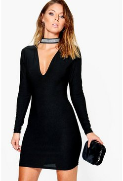 Leia Embellished Choker Bodycon Dress