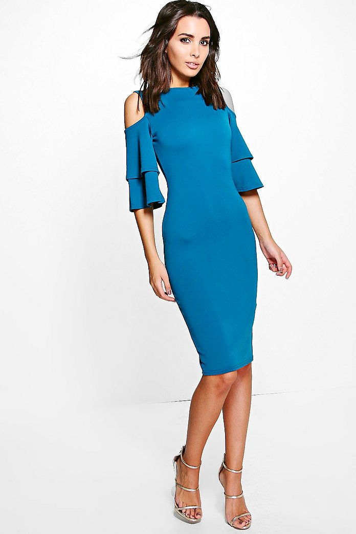 Leah Cold Shoulder Flute Sleeve Midi Dress