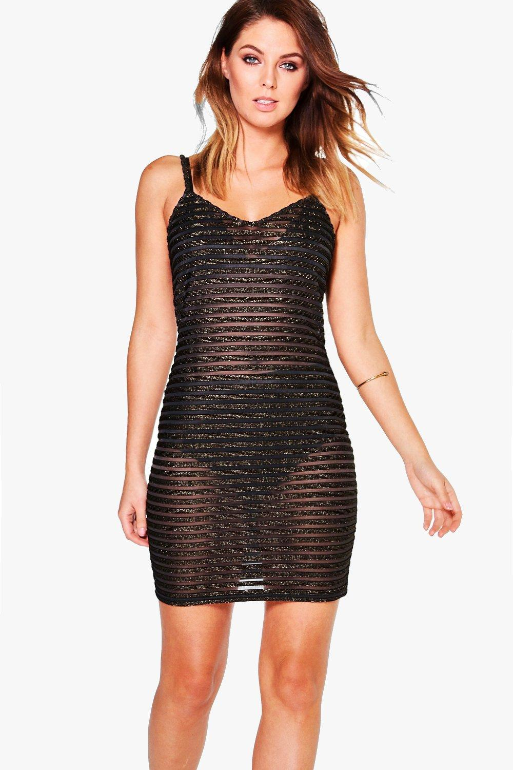 Lana Metallic Stripe Mesh Bodycon Dress