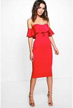 Kyra Frill Detail Midi Bodycon Midi Dress